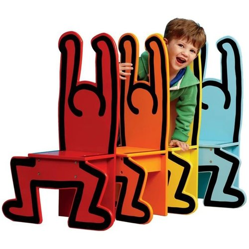 Vilac Standing Man Chair (Yellow) by Keith Haring