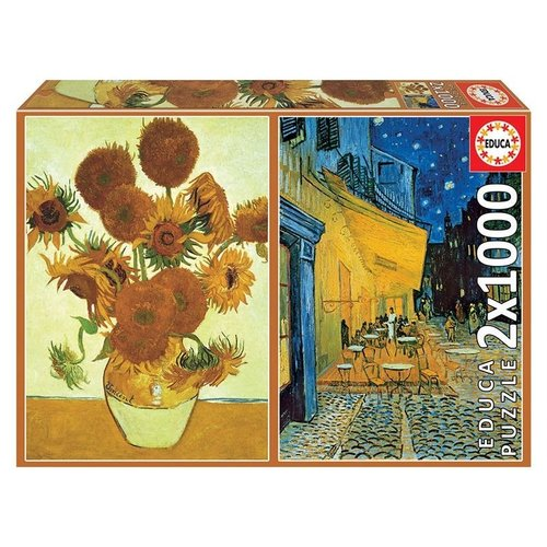 Educa Sunflowers + Cafe Terrace At Night Puzzle (2x 1000 pcs) by Vincent Van Gogh