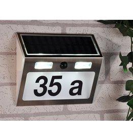 Edelstahl Solar LED Hausnummer 3 LEDs mit Bewegungsmelder 60253