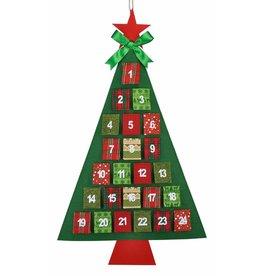 Adventskalender Tannenbaum mit 24 Fächern zum Aufhängen 113x68cm 54131