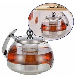 Teekanne 1,2 Liter aus Glas mit Edelstahl Filter 16028