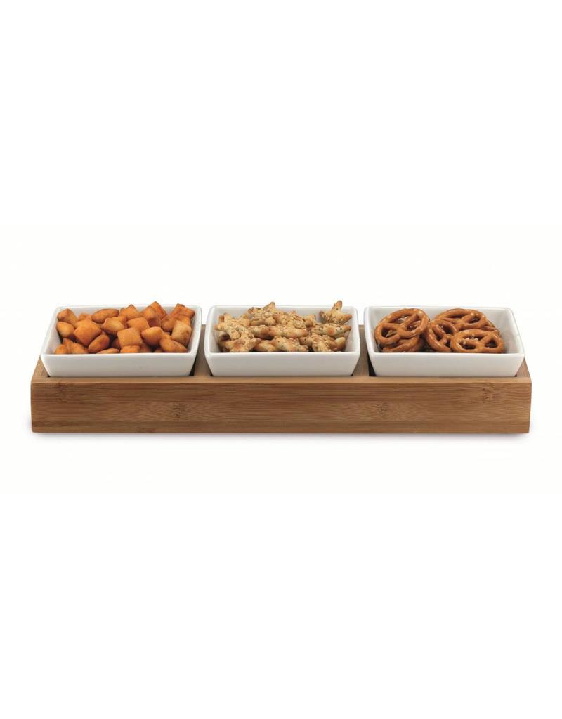 Weis 19083 Servier Set mit Tablett und 3 Schalen für Dips Saucen Snacks