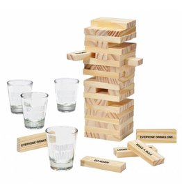 12 Stück Partyspiel Trinkspiel Turm Wackelturm mit 4 Gläsern 66149