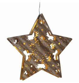 HI 54846 Weinhnachtsstern 33cm Holzoptik mit LED Beleuchtung