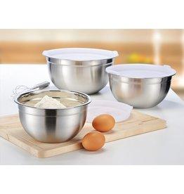 Edelstahl Küchenschüssel 3tlg mit Deckel 18-22-26cm 23005