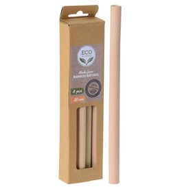 8 Trinkhalme aus Bambus Länge 20cm wiederverwendbar 633308