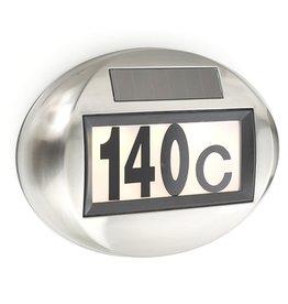 HI 60209 LED Solar Edelstahl Hausnummer oval mit 3 LEDs