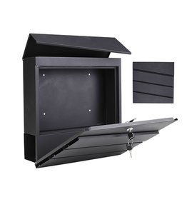 HI 60605 Metall Briefkasten mit Zeitungsfach schwarz