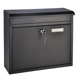 HI 60238 Metall Briefkasten schwarz mit Namensschild