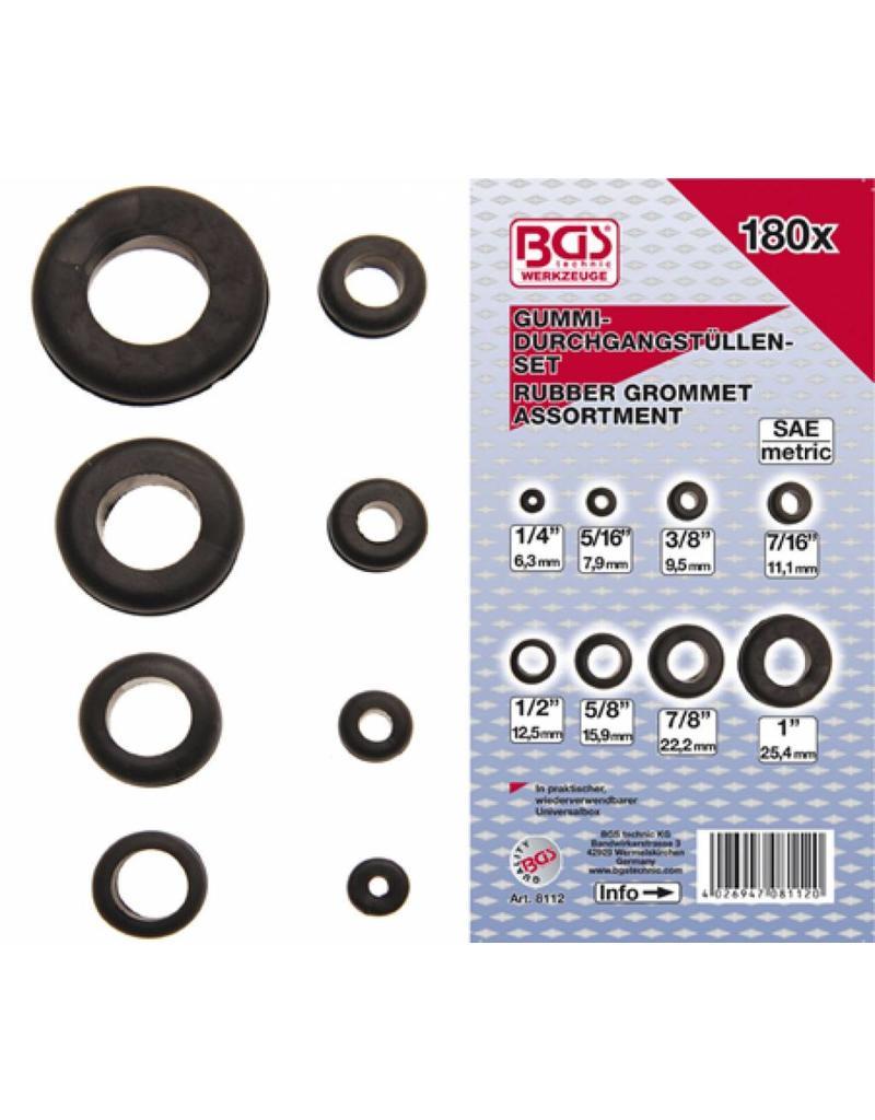 BGS technic 8112 Gummi Durchgangstüllen Sortiment 180tlg 7,9-25,4mm in Kassette