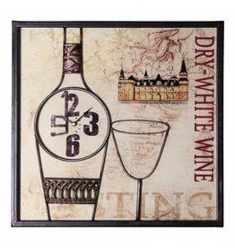 My Garden 1001533 Wandbild Bild Weisswein mit Uhr Wanduhr 40x40cm DRY WHITE WINE