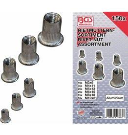 BGS technic 14127 Nietmuttern Sortiment M3-M10 Aluminum 150tlg in Kassette