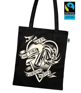 Keep The Fire Burning Inside - Fairtrade Tasche schwarz