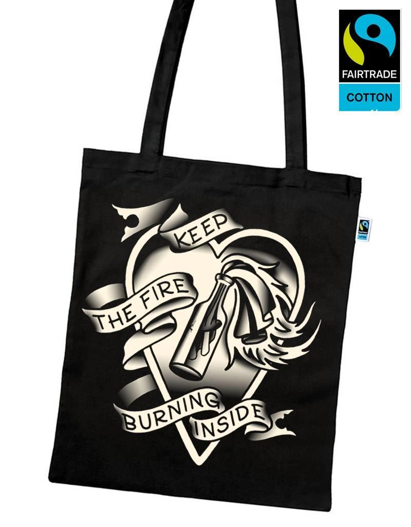 Useless Keep The Fire Burning Inside - Fairtrade Tasche schwarz