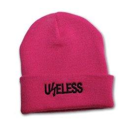 Useless Useless, gesticktes Logo - Beanie pink