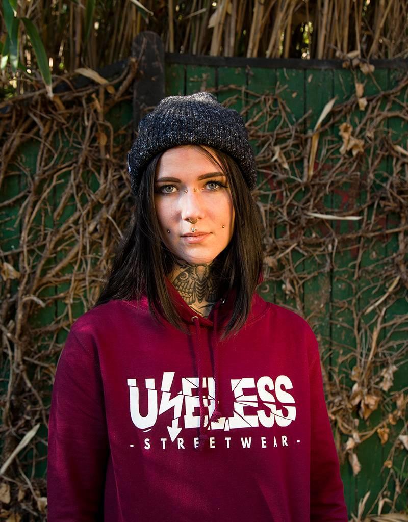 Useless Logo Girl Hoodie - burgundy