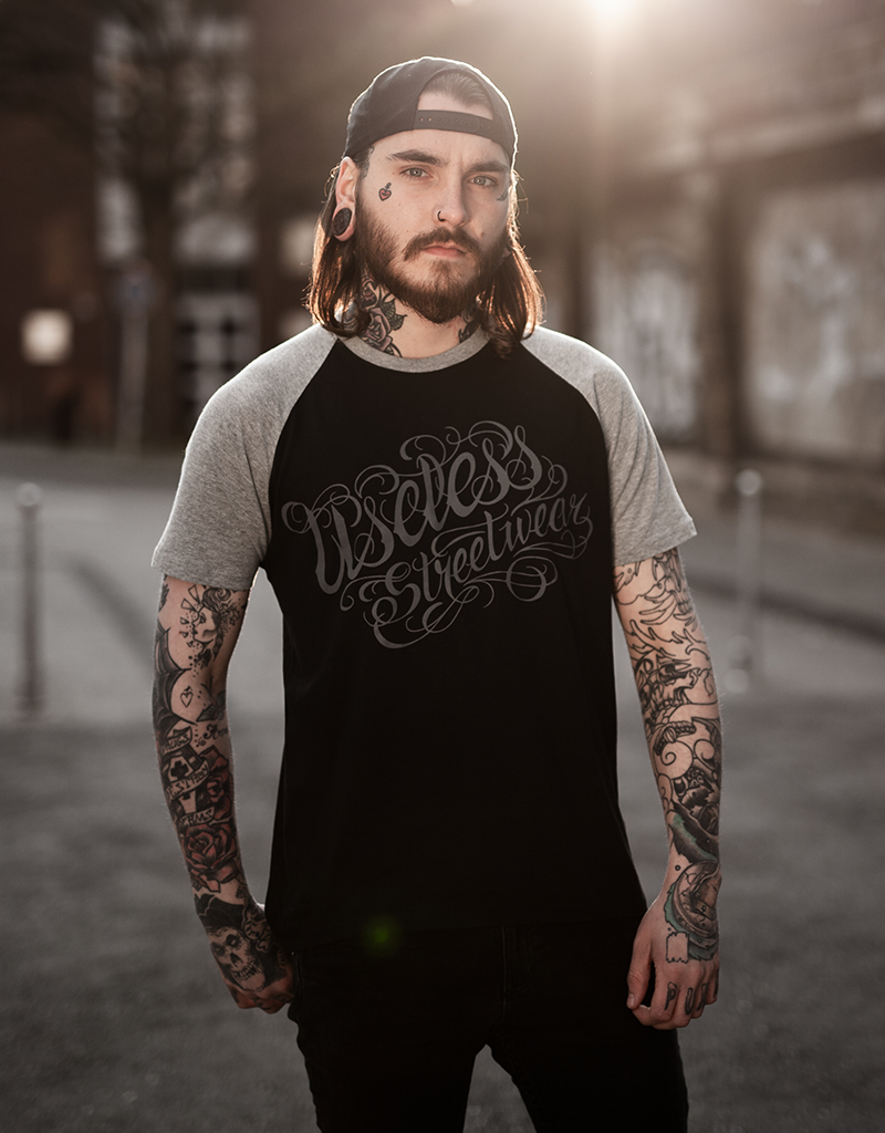 Tattoo Logo College unisex T-Shirt, fair - schwarz/grau