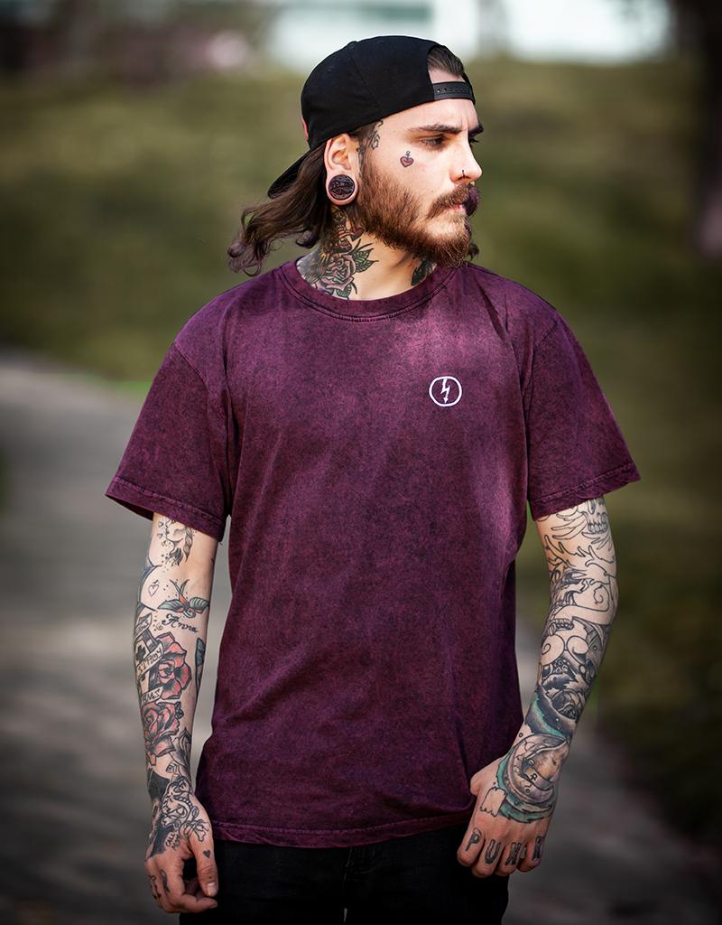 Useless Flash Logo Acid Washed unisex T-Shirt  - Berry/Black