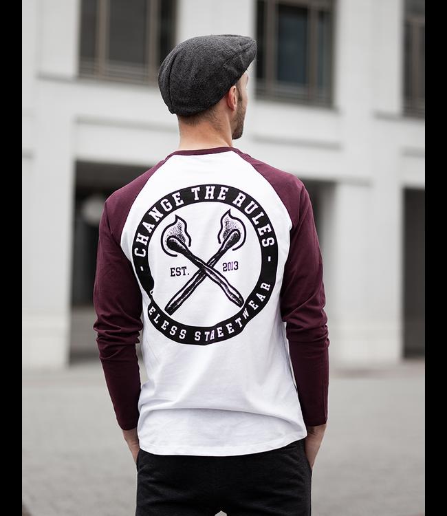 Change The Rules - Longsleeve burgundy/white - Fairwear