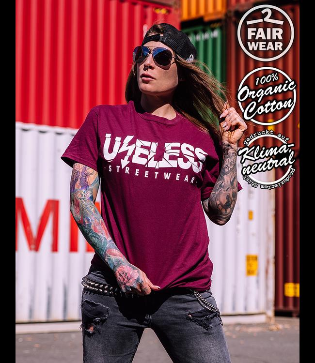 Useless Streetwear Logo - Fairwear & Bio unisex T-Shirt - burgundy