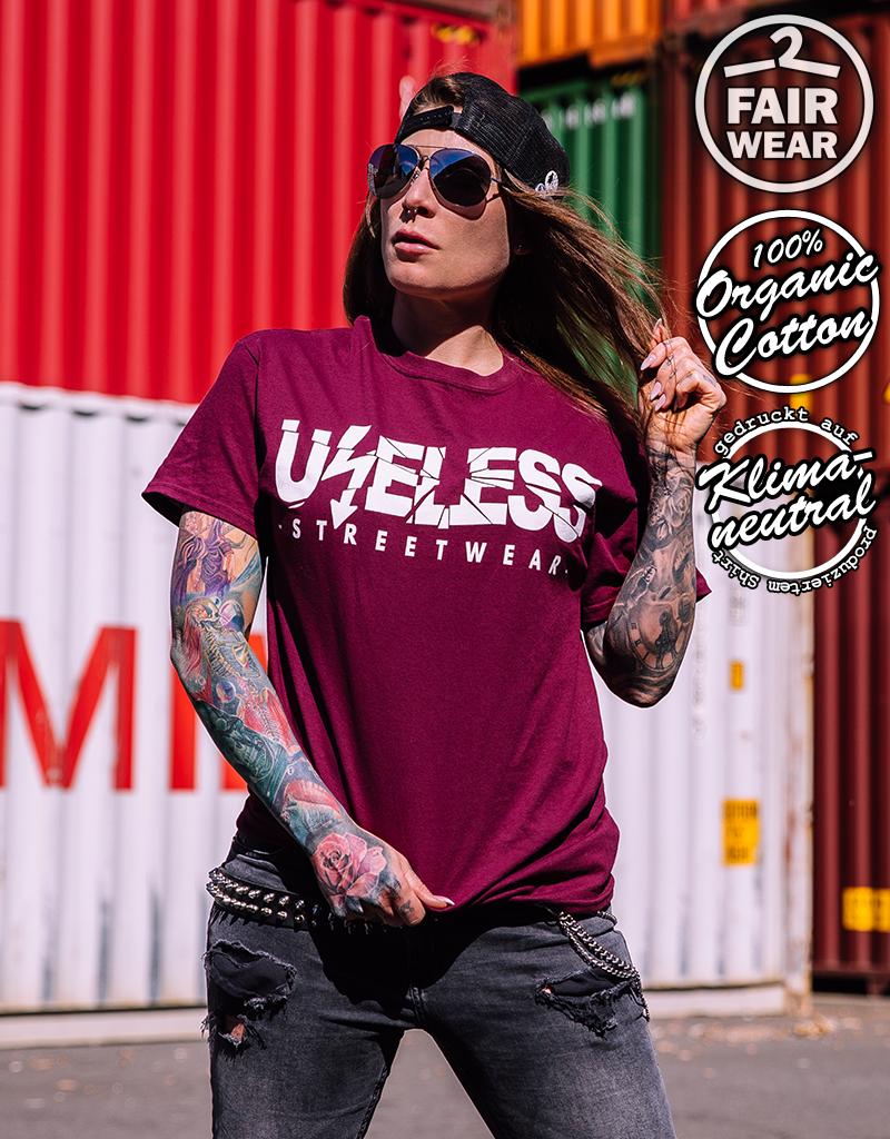 Useless Useless Streetwear Logo - Fairwear & Bio unisex T-Shirt - burgundy