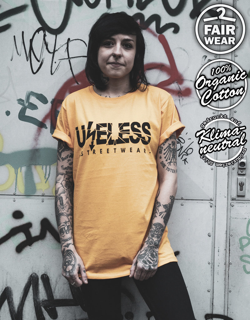 Useless Useless Logo - Unisex T-Shirt goldgelb, Bio & fair