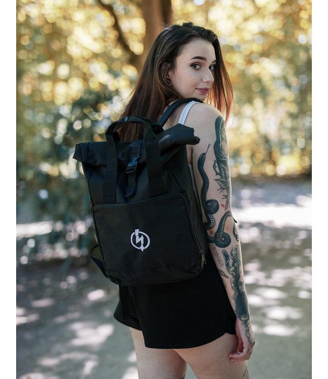 Roll-Top Backpack - Flash Logo, schwarz