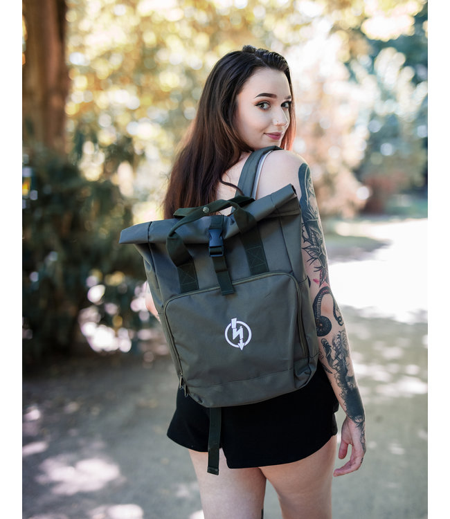Roll-Top Backpack - Flash Logo, oliv