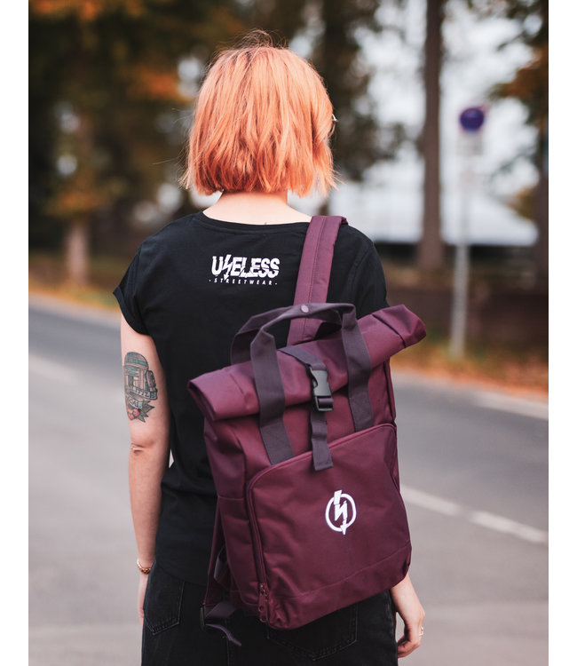 Roll-Top Backpack - Flash Logo Burgundy