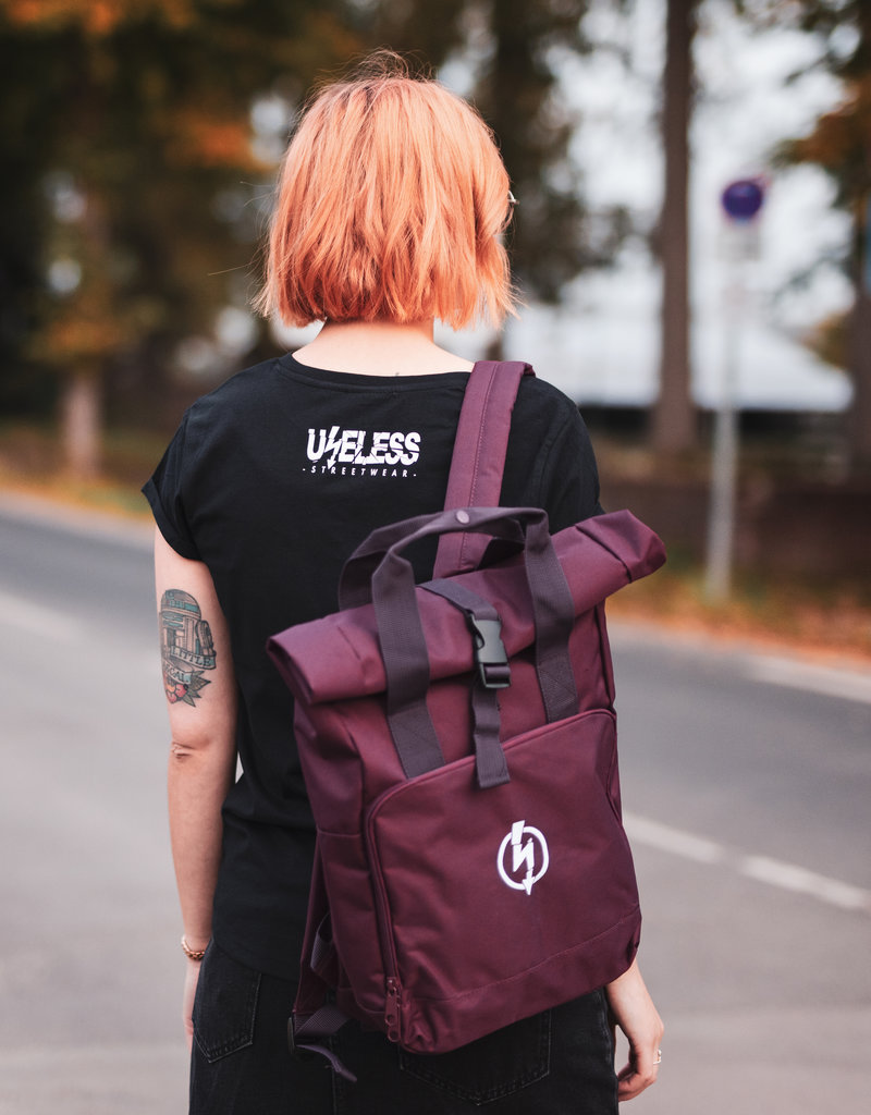 Useless Roll-Top Backpack - Flash Logo Burgundy