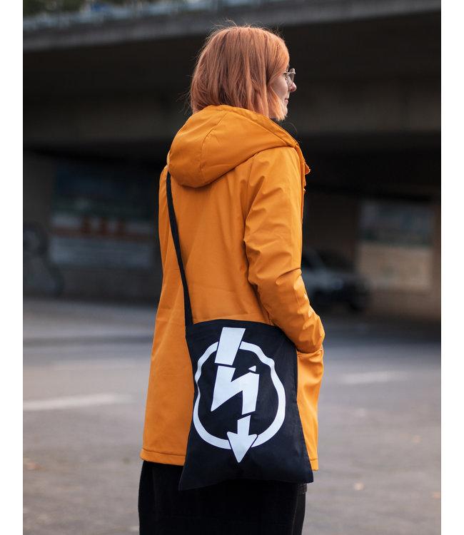 Flash Logo - Umhänge Baumwolltasche schwarz