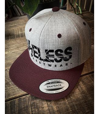 Snapback Cap, grau/maroon