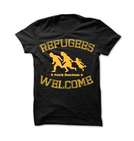 Useless Refugees Welcome T-Shirt schwarz/gelb