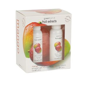 Fruit Extracts, small giftset, shower gel, body lotion, body mop, mango, 2x 100 ml