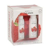 Fruit Extracts, small giftset, shower gel, body lotion, body mop, raspberry, 2x 100 ml