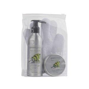 Fruit Emotions, giftset: scrub glove, shower gel 200 ml & body butter 100 ml, lime - vanilla
