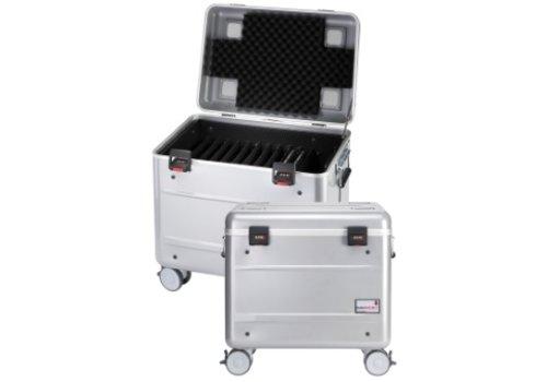 """Parat opladen C10 koffertrolley voor 10 Chromebooks van maximaal 15"""" met vakindeling zilvergrijs"""