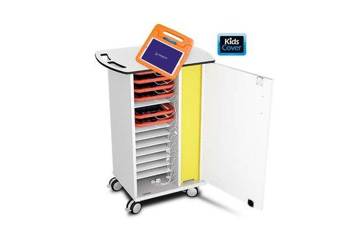 Zioxi oplaad & sync kast met wielen voor 15 iPads en tablets in dikke hoezen