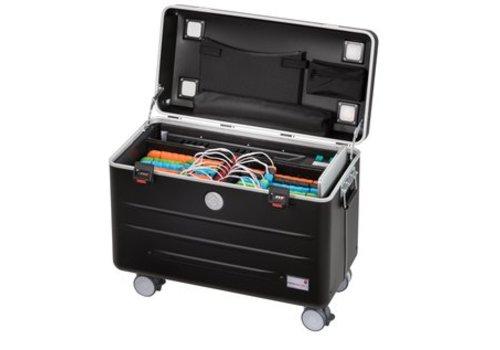 """Parat opladen & syncen A16S koffertrolley inclusief LED USB-C kabels voor 16 tablets 9-11"""" met vakindeling zwart"""