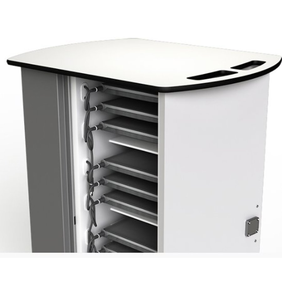 Macbook/Chromebook oplaadkar, 16 horizontale schappen, stekkerblok, kast is afsluitbaar met slot-3