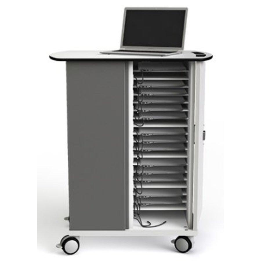 Macbook/Chromebook oplaadkar, 16 horizontale schappen, stekkerblok, kast is afsluitbaar met slot-5