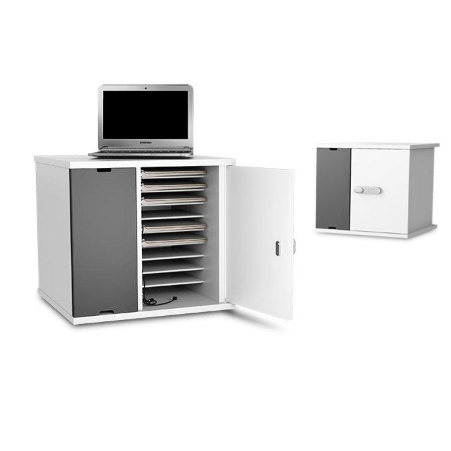 Afsluitbare oplaadkast voor 10 Macbooks en Chromebooks tot 14 inch met geïntegreerde stroomvoorziening-1