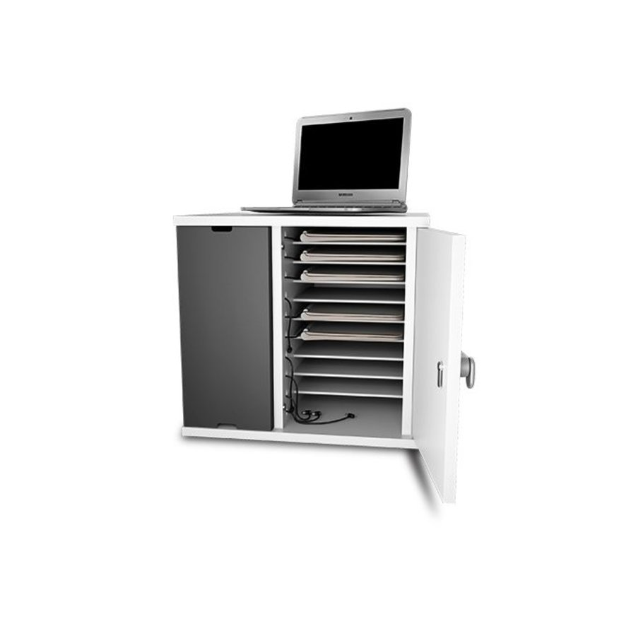 Afsluitbare oplaadkast voor 10 Macbooks en Chromebooks tot 14 inch met geïntegreerde stroomvoorziening-4
