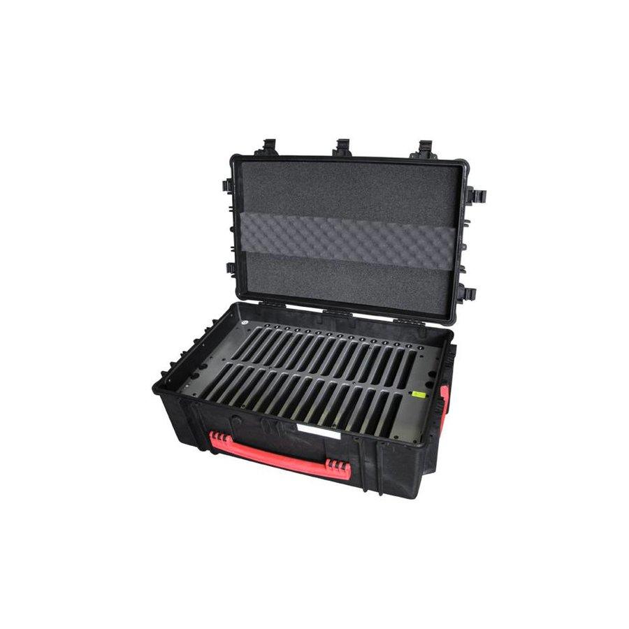 "C14; robuuste koffer voor 30 iPad Air en 10""-11"" tablets, koffer/kar op wieltjes met slot voor transport"