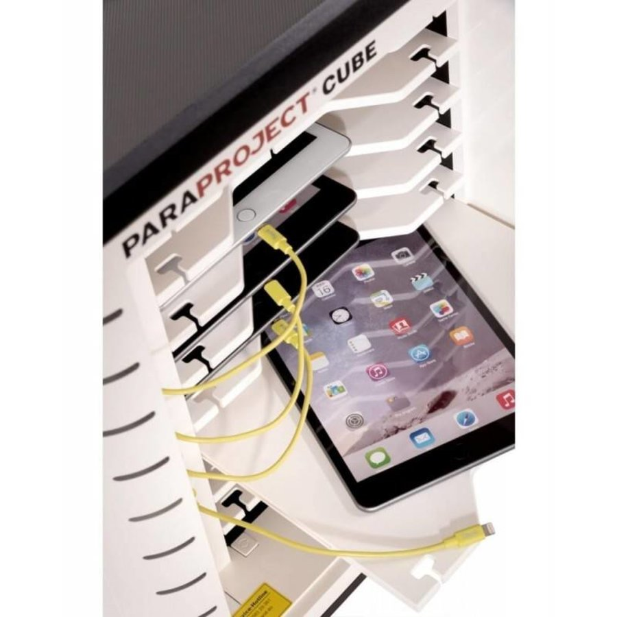 Afsluitbare sync en oplaad kubus met 10 uitneembare laden voor iPads,  U-10-7