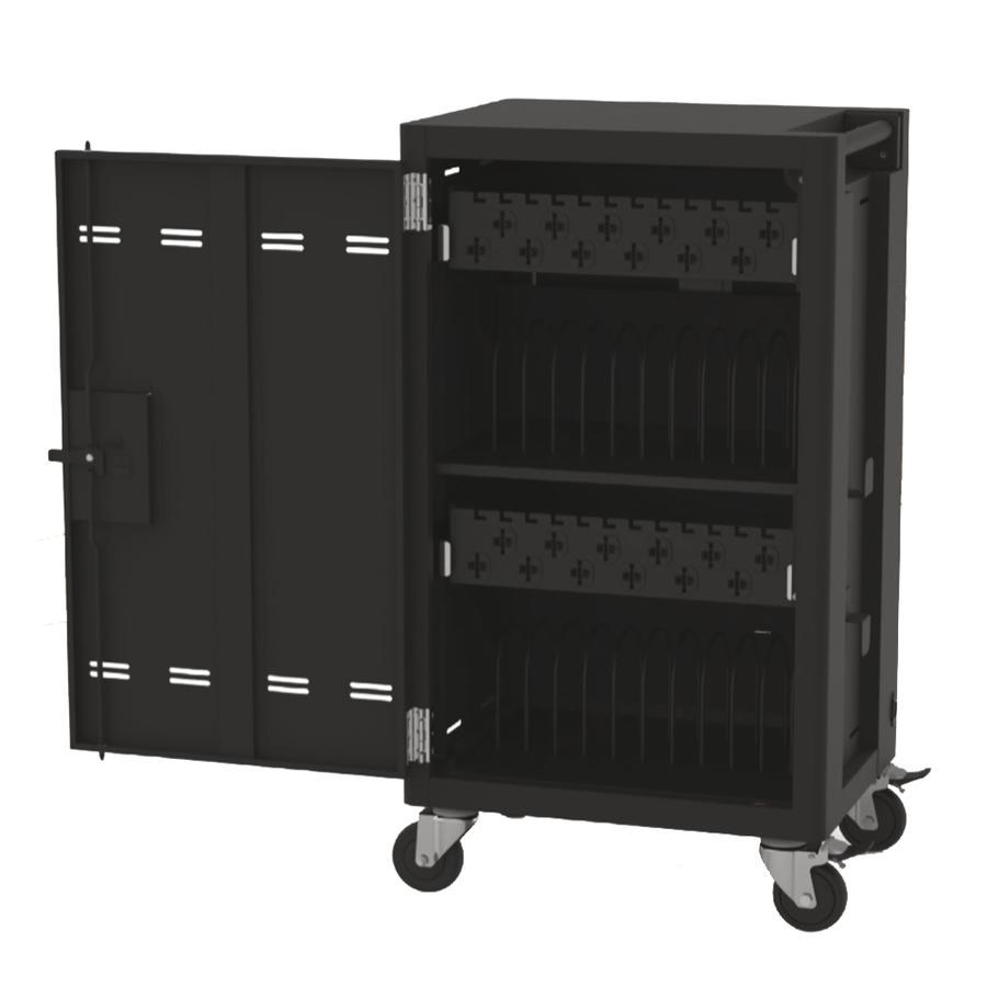 Verrijdbaar laadstation; opladen van 24 iPads, Tablets, Chromebooks in een afsluitbare stalen kast-1
