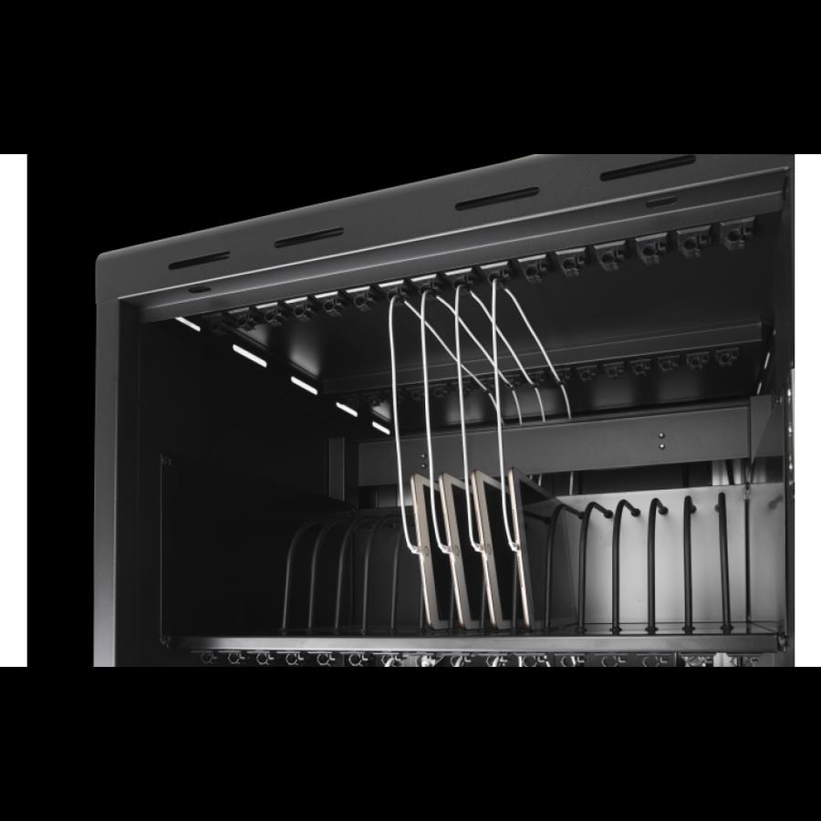 Verrijdbaar laadstation; opladen van 24 iPads, Tablets, Chromebooks in een afsluitbare stalen kast-3