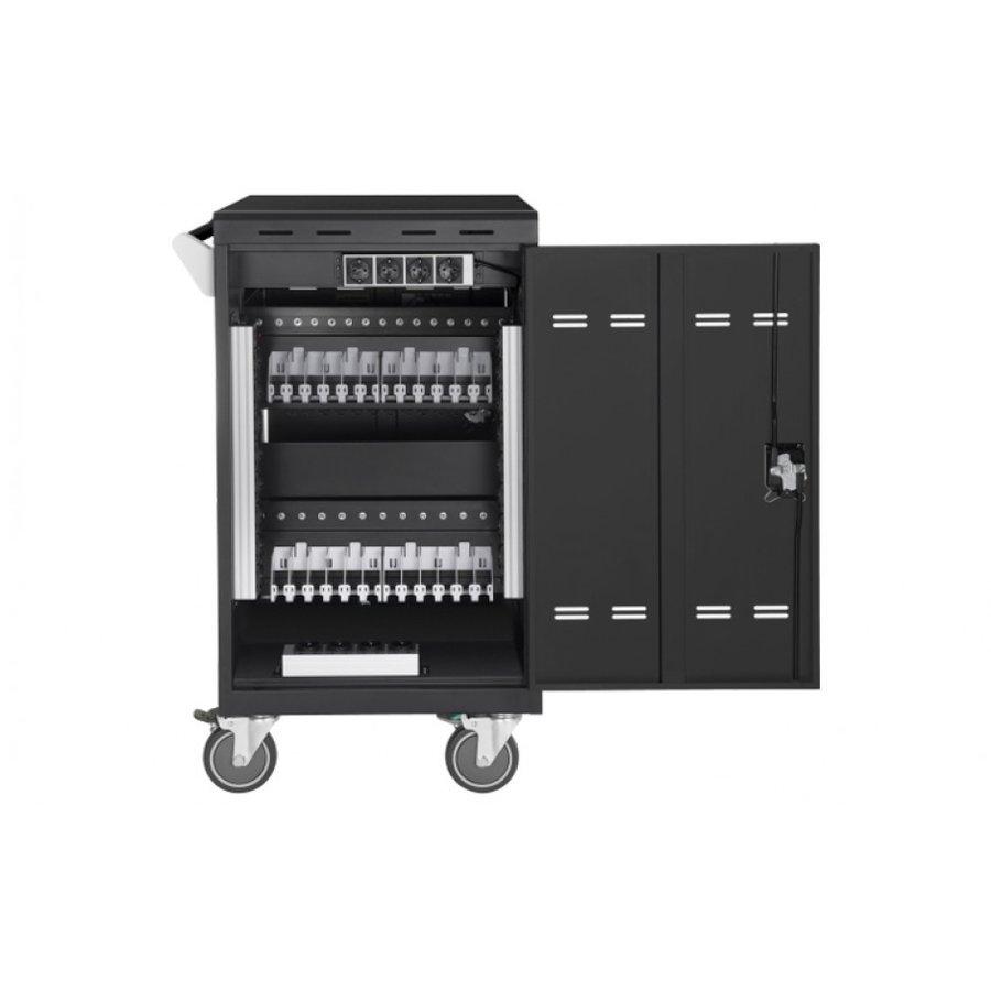 Verrijdbaar laadstation; opladen van 24 iPads, Tablets, Chromebooks in een afsluitbare stalen kast-4