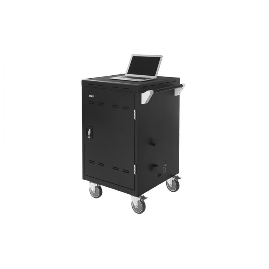 Verrijdbaar laadstation; opladen van 24 iPads, Tablets, Chromebooks in een afsluitbare stalen kast-9