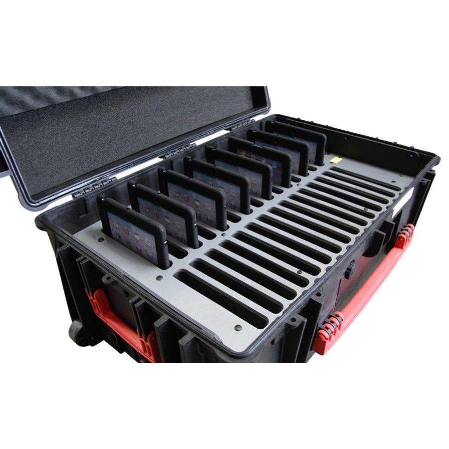 """iNsync C14; robuuste koffer voor 30 iPad Air en 10""""-11"""" tablets, koffer/kar op wieltjes met slot voor opbergen, opladen, synchroniseren & transport-8"""